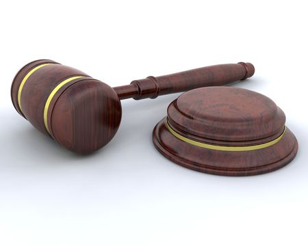 counsel: 3D render of a gavel Stock Photo