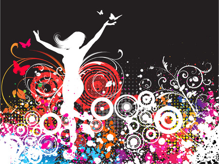 chaotic: Silhouette of a female dancing on a chaotic grunge background