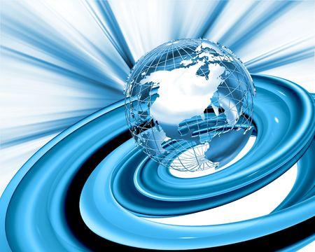 wireframe globe: Wireframe globe on abstract background