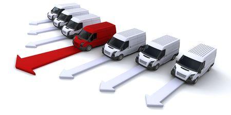 Beeld met een vloot van bestelwagens met een leidende de weg Stockfoto