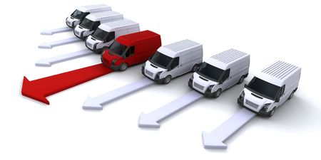 leading: Image showing a fleet of vans with one leading the way Stock Photo