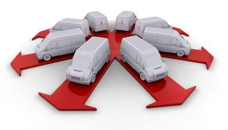 Witte bestelwagens op de pijlen