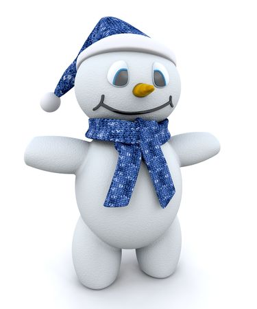 Happy snowman with hat and scarf photo