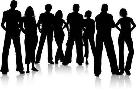 jovenes en grupo: Silueta de un grupo de amigos Vectores