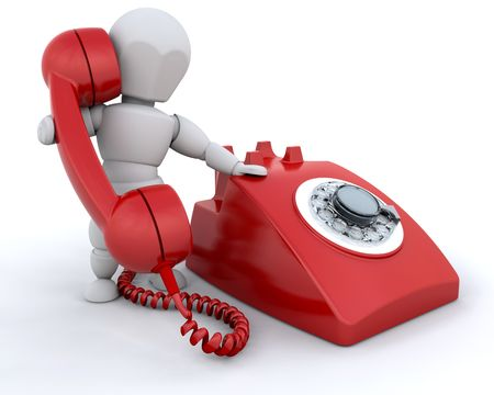 denominado retro: Person talking on retro styled telephone Banco de Imagens