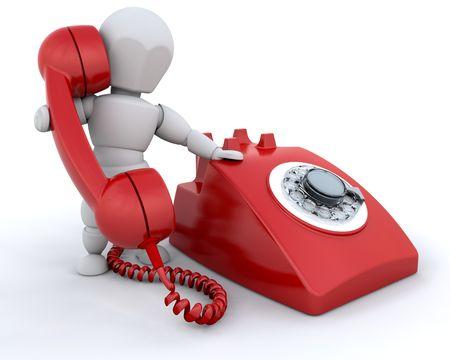 Persona hablando por tel�fono de estilo retro Foto de archivo - 3865970