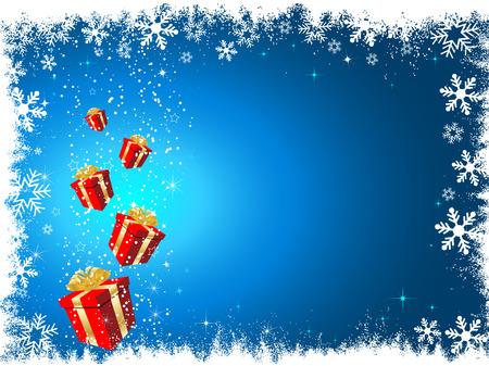 snowy background: Regalos de Navidad cubierto de nieve sobre fondo