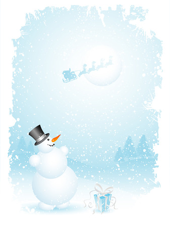 Happy snowman and santa  Vector