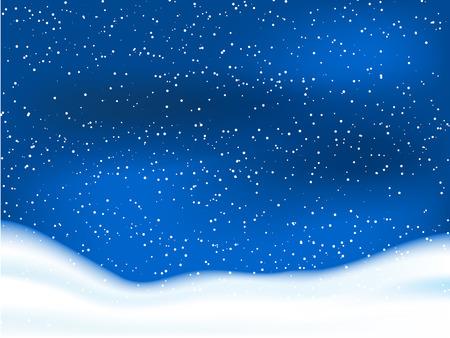 Winter scene with snowy sky Vector