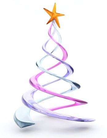 3d render of a glass spiral christmas tree stock photo 3893156