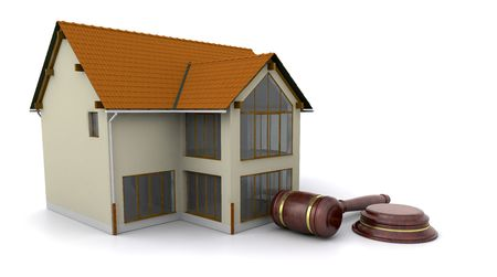 auction gavel: House with hammer and gavel