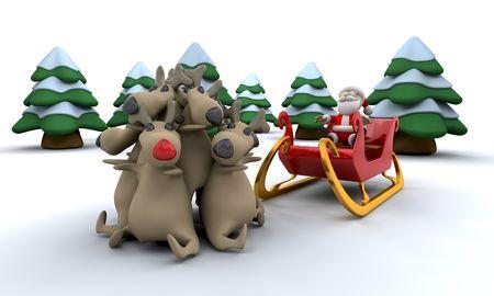 Santa with his trusty reindeer photo