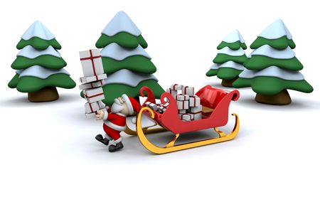 Santa with a sleigh full of presents photo