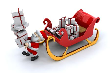 Santa with a sleigh full of presents Stock Photo - 3893157