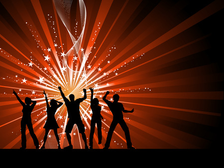 male dancer: Silhouettes of people dancing on starry background