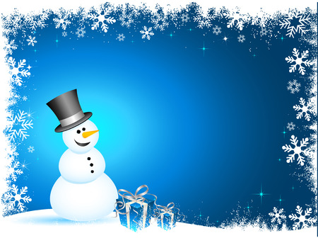snowman: Happy snowman with gifts on snowflake background