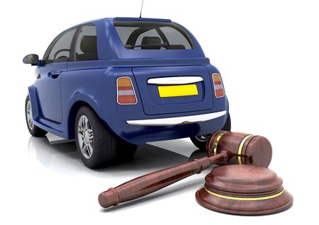 Hammer and gavel in front of a car photo