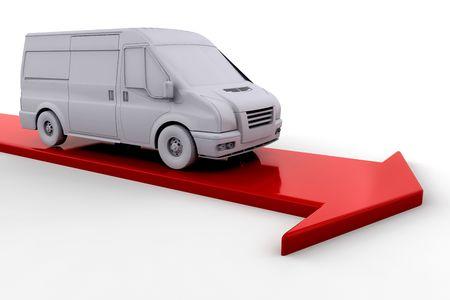 Delivery van on red arrow Stock Photo