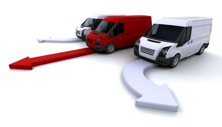 fleet: Fleet of delivery vans with one leading the way