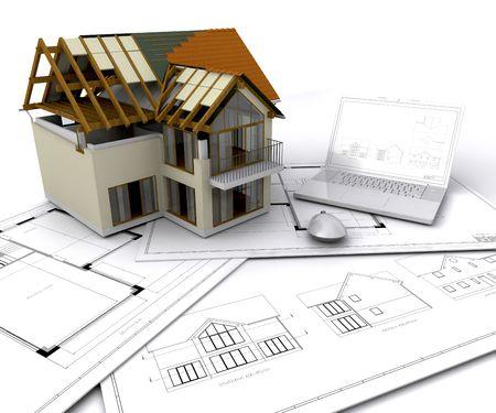 Huis in aanbouw op plannen met laptop