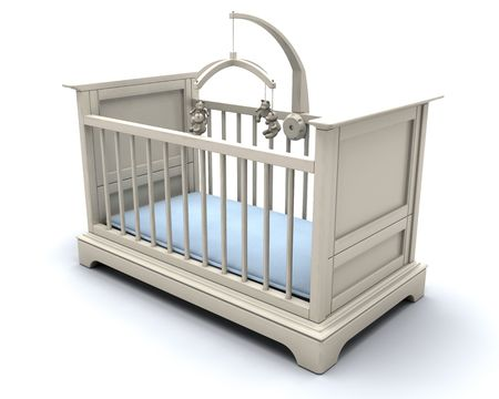 3D render of a cot for a baby boy Stock Photo - 3968884