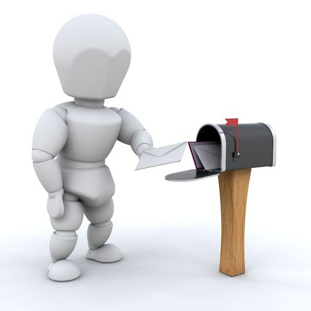 posting: Alguien publicar una carta Foto de archivo