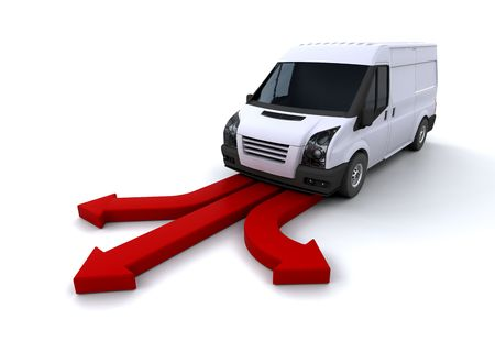 render: Van on red arrows  Stock Photo
