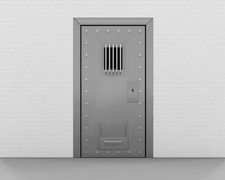puerta de metal: 3D render de una puerta de la c�rcel Foto de archivo