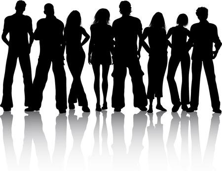 pareja de adolescentes: Silueta de un grupo de personas