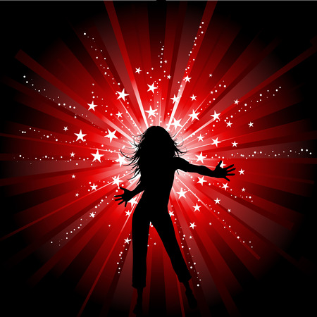 Sexy female on starry background Vector
