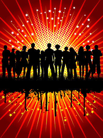 Silhouette of a crowd on a grunge starry background Stock Vector - 3987096