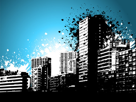 Skycrapers on a grunge style background Vector