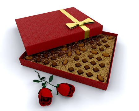 Luxury box of chocolates with red roses photo