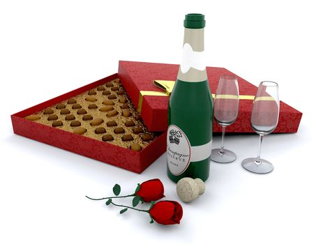 Champagne with a box of chocolates and roses photo