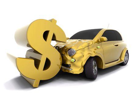 crashing: Car crashing into a dollar sign