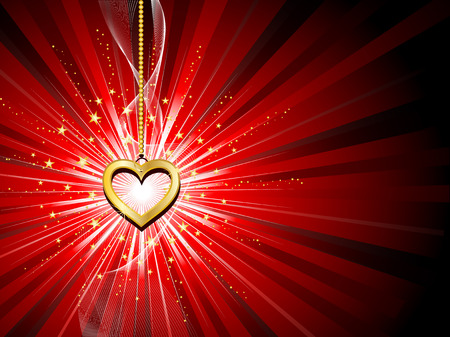 Golden heart on starburst background