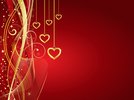 stars vector: Decorative Valentines background with golden hearts Illustration