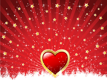 Valentines background with stars bursting out Vector