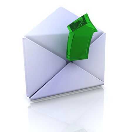 3D computer icon for open email Stock Photo - 4125497