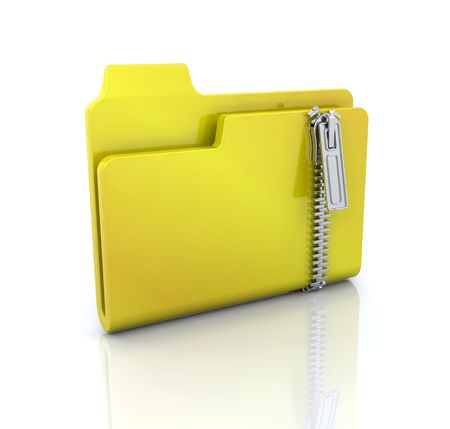 zipped: 3D computer icon for zipped folder