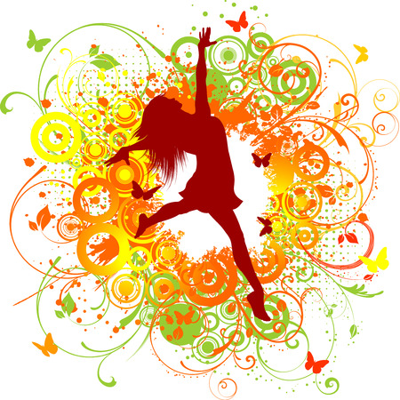 jumping people: Silhouette of a happy female on a floral background