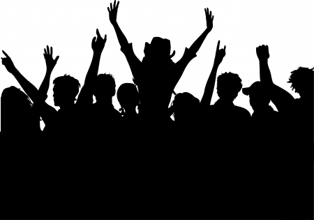 youngsters: Silhouette of an excited audience Illustration