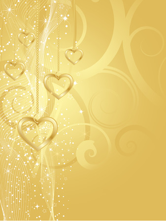 Decorative background with golden hearts Illustration
