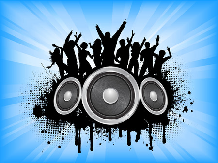 People dancing on grunge music background Vector