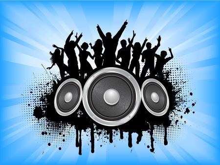 grunge teenager: People dancing on grunge music background