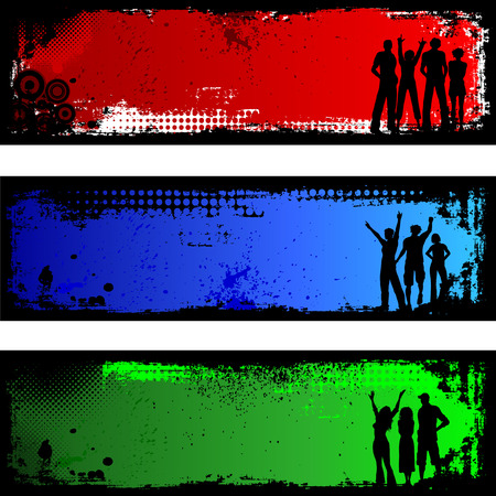 Silhouettes of people on grunge backgrounds Stock Vector - 4165025