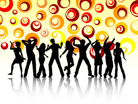 Silhouettes of people dancing on retro background Stock Vector - 4165015