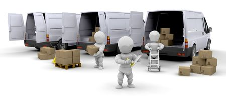 moving van: Workers loading boxes into delivery vans