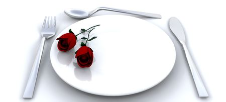 Place setting with red roses photo