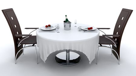 Romantic dinner setting for two photo